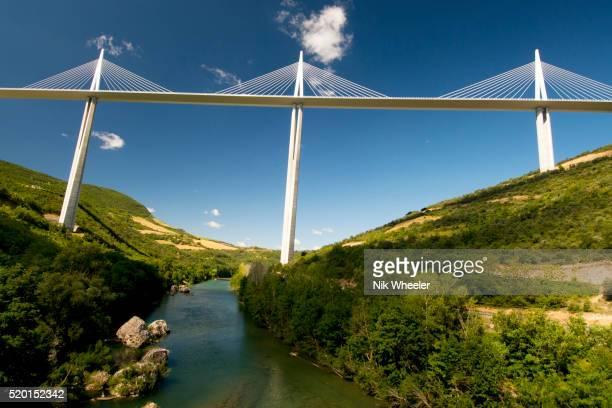 Viaduc de Millau, world's tallest bridge, over River Tarn, France