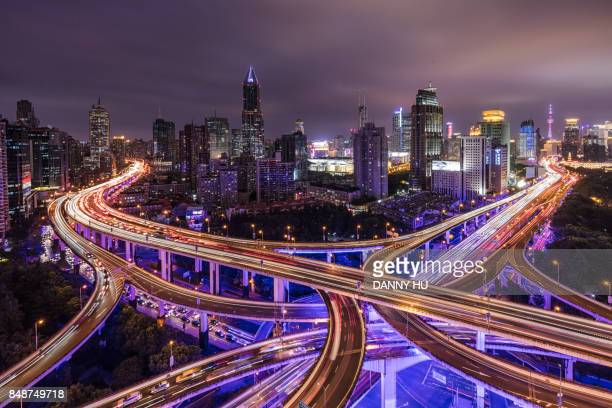 viaduct in Shanghai at night