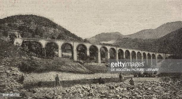 Viaduct on the Rivoira stream along the Cuneo-Limone railway line, Tetto Salet, Italy, engraving after a photo by B Berra, from L'Illustrazione...
