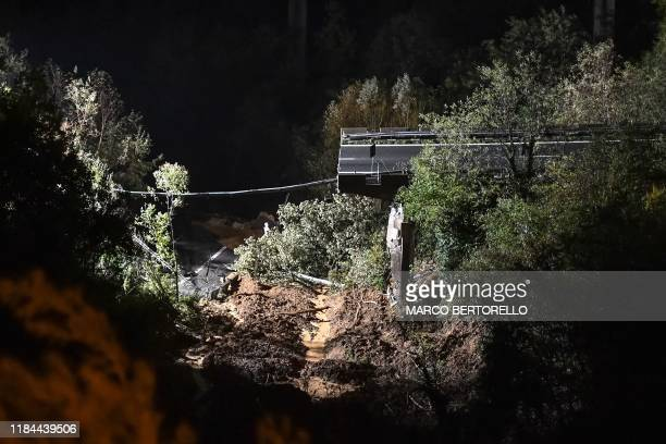 Viaduct section of the A6 highway between Turin and Savona is pictured after it collapsed following a landslide near Savona on November 24, 2019. -...