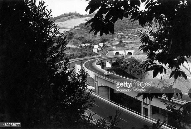 Viaducts on the Autostrada del Sole in the Appennines stretch between Bologna and Firenze Italy 1964
