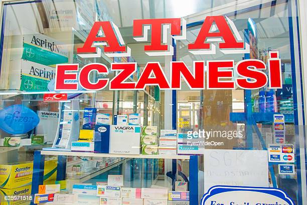 Viagra male enhancer against impotence in a shopwindow of a turkish pharmacy on May 25 2014 in Marmaris Lycian Coast Southwest of Turkey