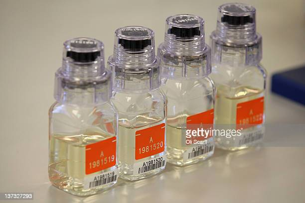 Vials if 'A' urine samples in the anti-doping laboratory which will test athlete's samples from the London 2012 Games on January 19, 2012 in Harlow,...