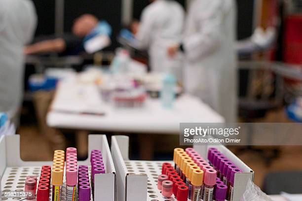 vials of blood in donation center - blood bank stock photos and pictures