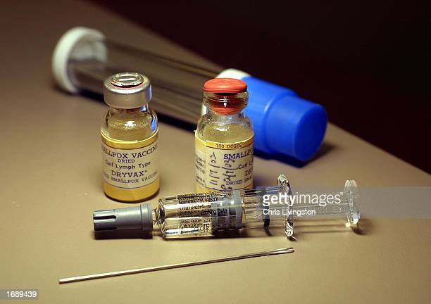 Vials of smallpox vaccine sit on a counter before a vaccination December 16 2002 at MidFlorida Biologicals in Altamonte Springs Florida The health...