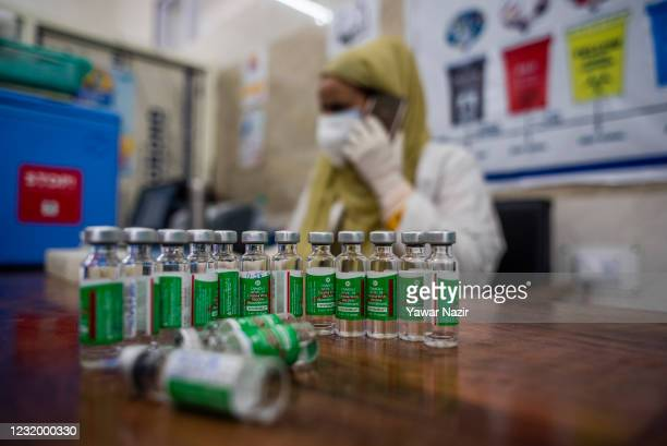 Vials of the Covishield COVID-19 Vaccine, the Indian-made version of the Oxford/AstraZeneca vaccine are pictured during a vaccination campaign at a...