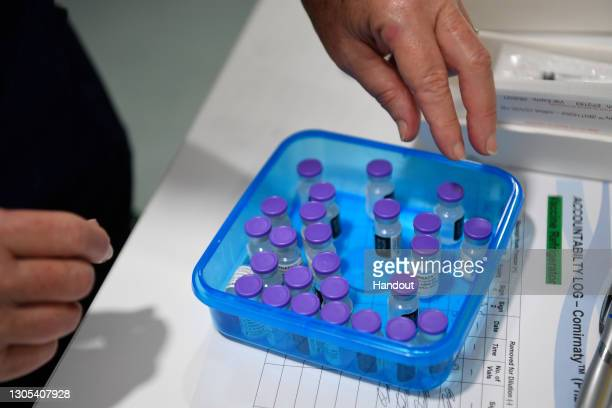 Vials of the Pfizer COVID-19 vaccine are seen at Townsville University Hospital on March 5, 2021 in Townsville, Australia. The Townsville University...