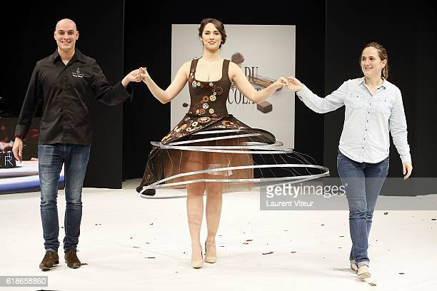 Vianney Bellanger, Charlotte Namura and Anne-Lise Durier Grandjean walk the Runway during the Dress Chocolate Show as part of Salon du Chocolat at...