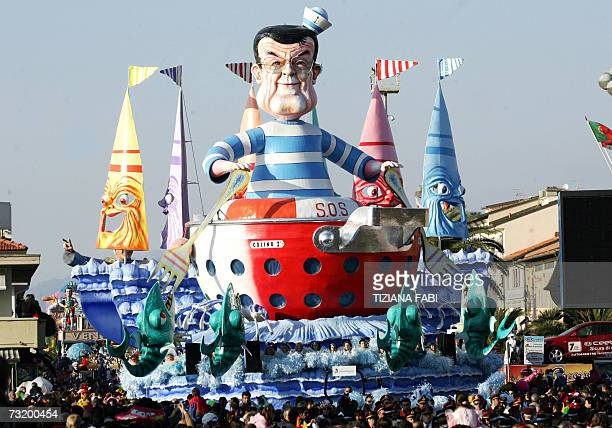 A giant carnival figurine representing the Italian Prime Minister Romano Prodi parades through the streets of Viareggio during the annual carnival...