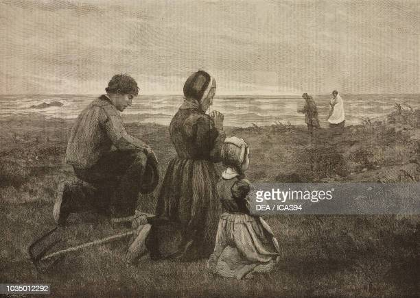 Viaticum, a family gathered in prayer near the seashore for the loss of a relative, engraving after a painting by Julius Mendes Price , Royal Academy...