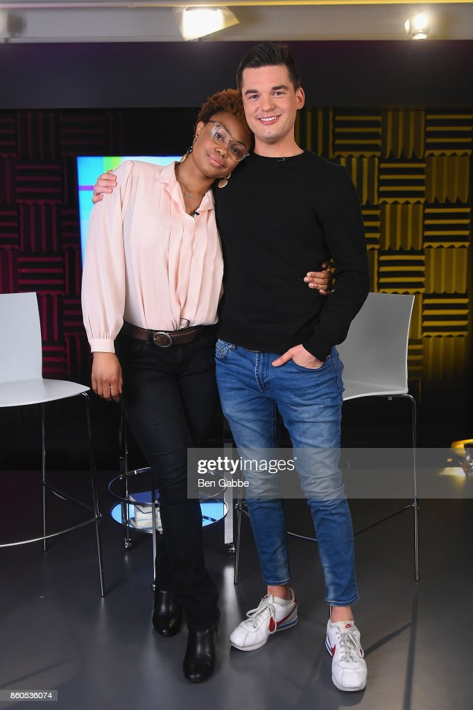 Vibe Editor and Billboard News Correspondent Shenequa Golding (L) and Billboard News Host Kevan Kenney pose during the 2017 American Music Awards nominations announcement at Billboard on October 12, 2017 in New York City.