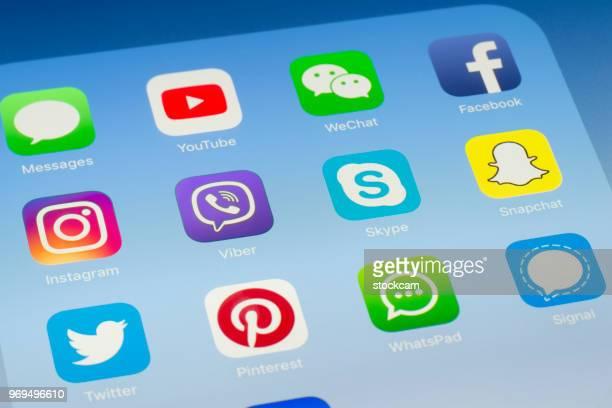 Viber, Skype et autres médias sociaux Apps sur l'écran de l'iPad