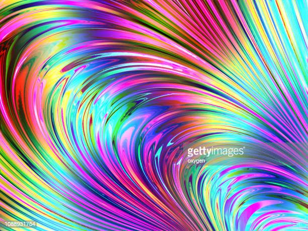 vibrant abstract spiral summer floral background. peacock feather - 玉虫色 ストックフォトと画像