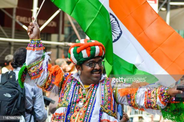 Vibrant and diverse crowds take part in the 39th India Day parade to celebrate India's Independence Day along Madison Avenue in New York City
