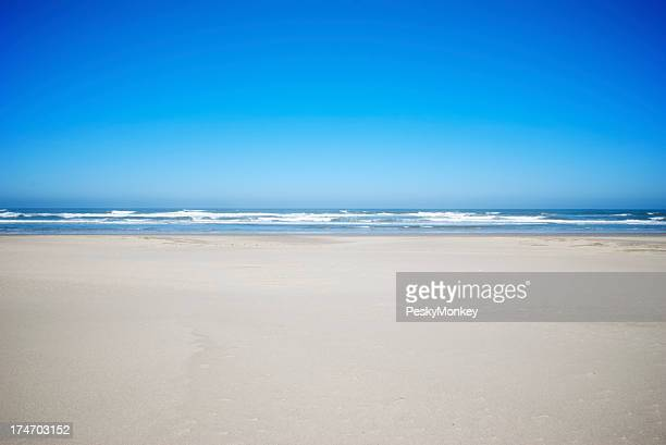 Vibrant Blue Sky Wide Sand Beach Background