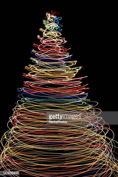 Vibrant Christmas Lights Form a Tree of Circles