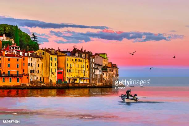 vibrant color of old town rovinj at sunrise in painterly effect - croacia fotografías e imágenes de stock