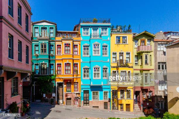 vibrant colorful houses in istanbul, turkey - istanbul stock pictures, royalty-free photos & images