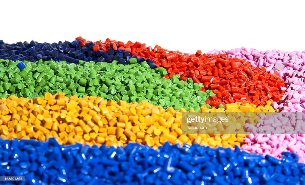 Vibrant colorful pieces of tiny bits of plastic : Stock Photo