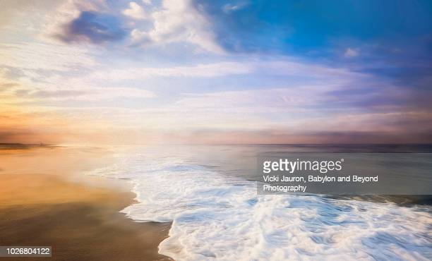 vibrant colors at sunrise at jones beach in winter, long island, ny - wantagh stock pictures, royalty-free photos & images