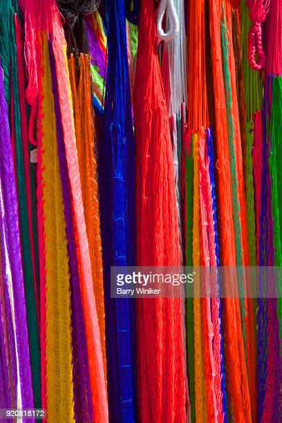 Vibrant colors of hanging Mexican hammocks
