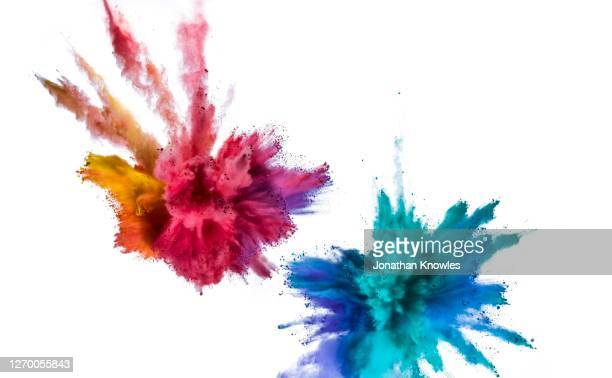 vibrant exploding powders - exploding stock pictures, royalty-free photos & images