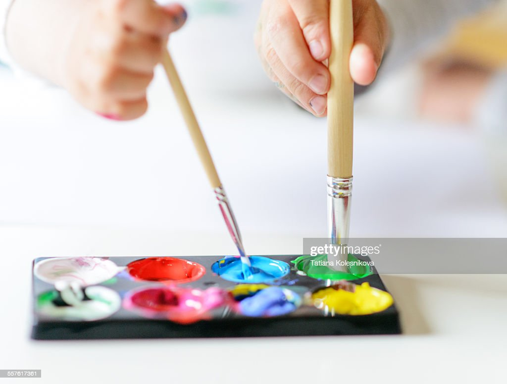 Vibrant gouache color set in double use : Stock Photo