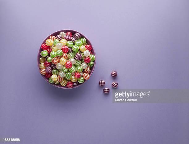 Vibrant hard candy in bowl