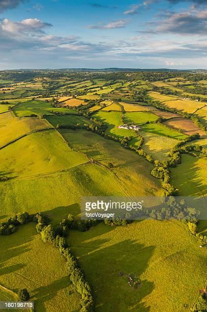 Vibrant patchwork landscape summer fields farms idyllic countryside