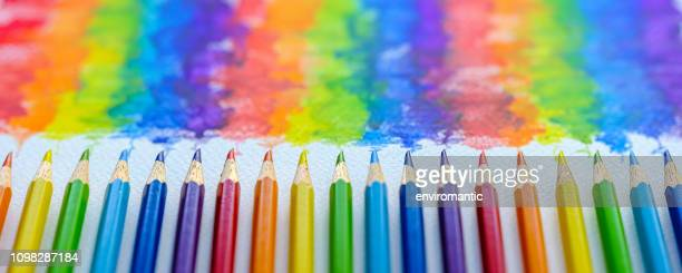 vibrant rainbow colored water color coloring pencils or crayons in a row lying vertically with corresponding colorful shade drawing background, of the colors blending together, which features behind the crayons. - color pencil stock pictures, royalty-free photos & images