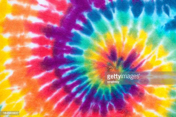 Vibrant rainbow tie die swirl pattern