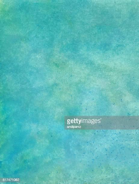 Vibrant turquoise mottled background hand painted on paper