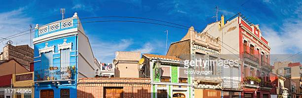 Vibrant villas Valencia colorful townhouse street panorama Spain