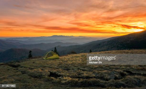 vibrantly colorful vista of a small green tent camps on a grassy bold meadow of the appalachian trail in the golden dusk with blue misty mountains in the background. - appalachian trail stock pictures, royalty-free photos & images