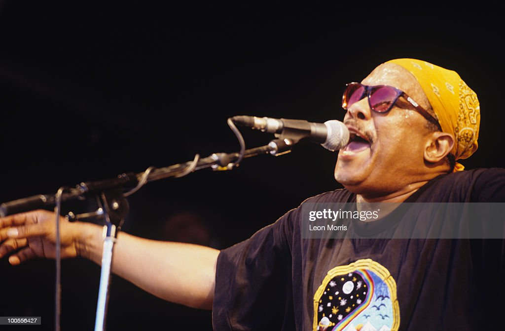Vibraphonist Roy Ayers performs on stage in the 1990's.