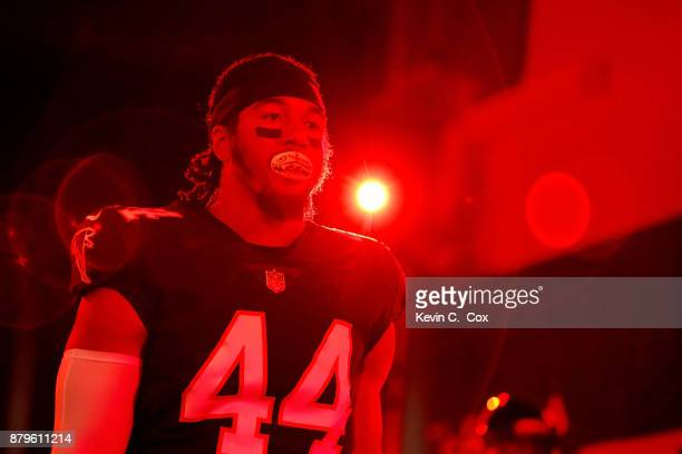 Vic Beasley Jr #44 of the Atlanta Falcons walks out of the tunnel prior to the game against the Tampa Bay Buccaneers at MercedesBenz Stadium on...