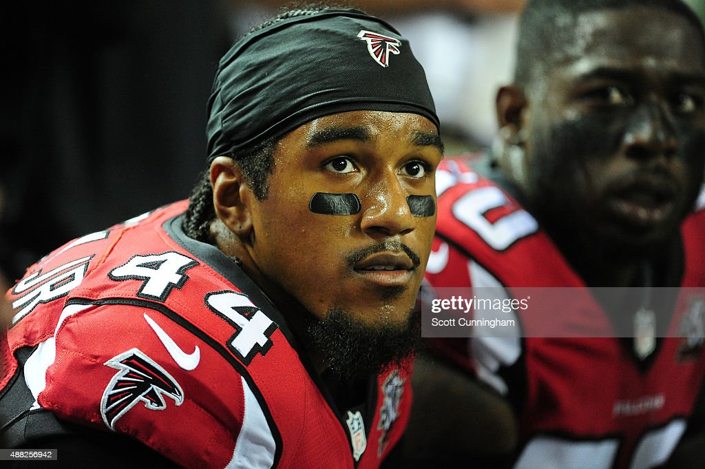 Vic Beasley, Jr. #44 of the Atlanta Falcons watches the action against the Philadelphia Eagles at the Georgia Dome on September 14, 2015 in Atlanta, Georgia.