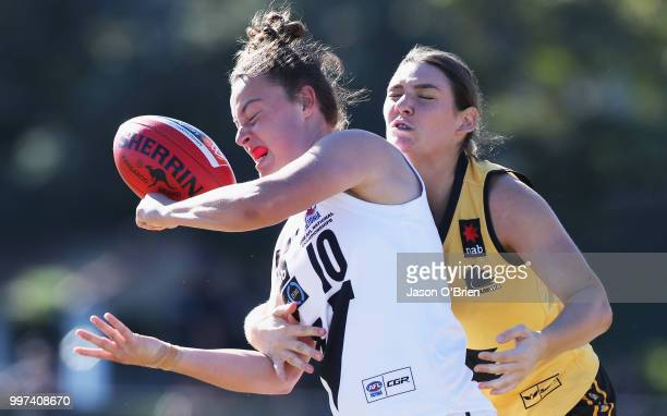 Vic Country's Nikia Webber in action during the AFLW U18 Championships match between Vic Country and Western Australia at Bond University on July 13...