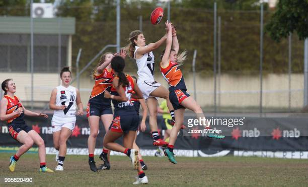 Vic Country's Nina Morrison in action during the AFLW U18 Championships match between Vic Country and Central Allies at Broadbeach Sports Club on...