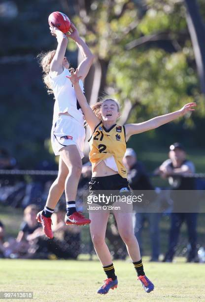 Vic Country's Nina Morrison takes a mark during the AFLW U18 Championships match between Vic Country and Western Australia at Bond University on July...