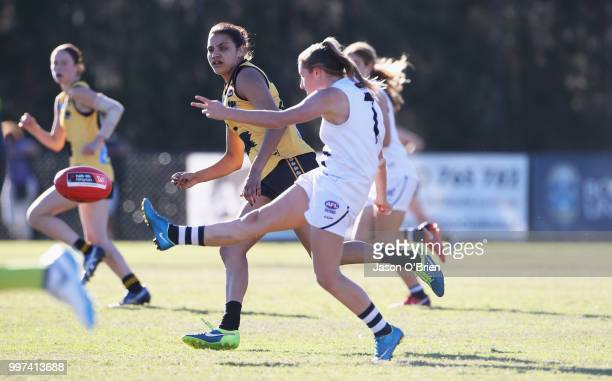 Vic Country's Olivia Purcell during the AFLW U18 Championships match between Vic Country and Western Australia at Bond University on July 13 2018 in...