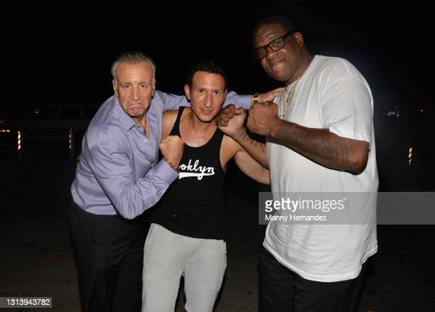 Vic DiBitetto, William DeMeo, Riddick Bowe on the set of the filming of the 2nd season of Gravesend being filmed in Miami, FL on April 21, 2021.