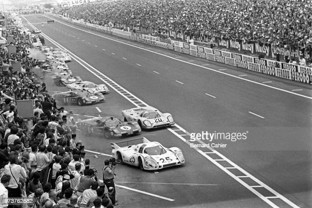Vic Elford Nino Vaccarella Jo Siffert Porsche 917L Ferrari 512S Porsche 917K 24 Hours of Le Mans Le Mans 14 June 1970