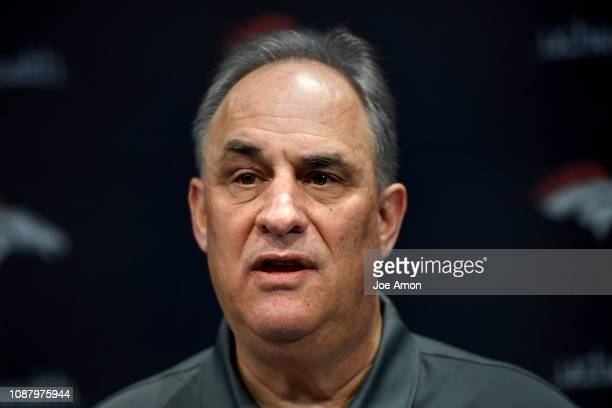Vic Fangio Denver Broncos Head Coach introducing his coaching coordinators Rich Scangarello Offensive Ed Donatell Defensive Tom McMahon Special Teams...