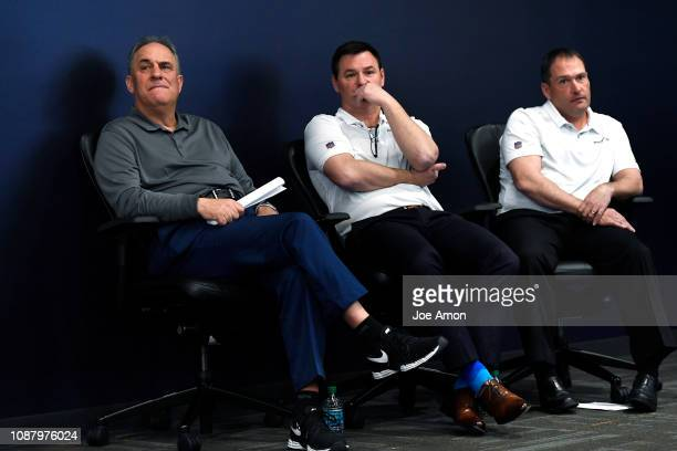 Vic Fangio Denver Broncos Head Coach Rich Scangarello Offensive Coordinator and Tom McMahon Special Teams Coordinator listen as Ed Donatell Defensive...