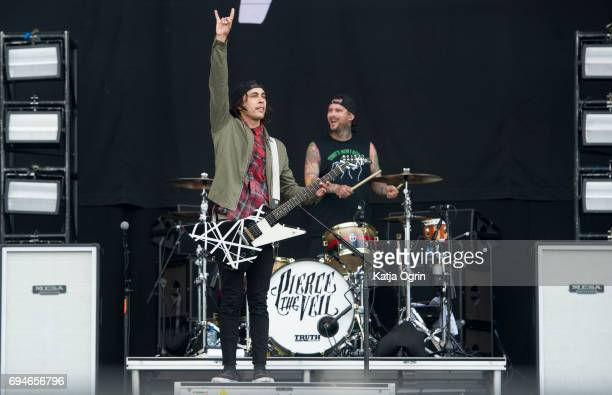 Vic Fuentes of Pierce The Veil performing live on Day 2 of Download Festival at Donington Park on June 10 2017 in Castle Donington UK