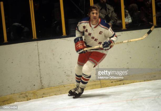 Vic Hadfield of the New York Rangers skates on the ice during an NHL game in February 1972 at the Madison Square Garden in New York New York