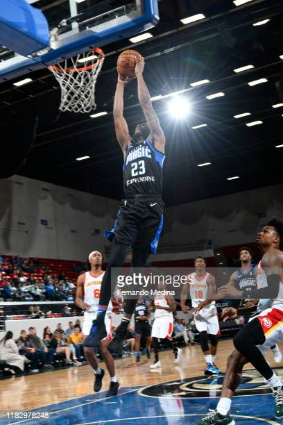 Vic Law of the Lakeland Magic dunks against the College Park Skyhawks during the game on November 15 2019 at RP Funding Center in Lakeland Florida...