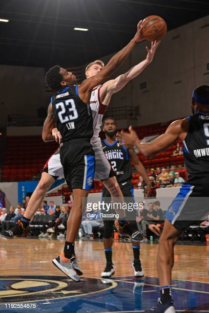Vic Law of the Lakeland Magic grabs the rebound against the Canton Charge on January 2 2020 at the RP Funding Center in Lakeland Florida NOTE TO USER...