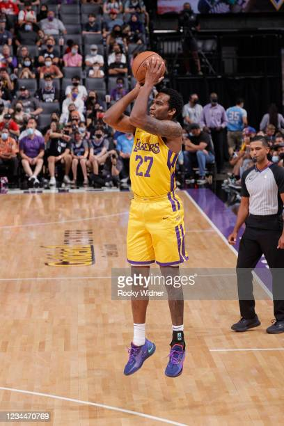Vic Law of the Los Angeles Lakers shoots a three point basket against the Sacramento Kings during the 2021 California Classic Summer League on August...